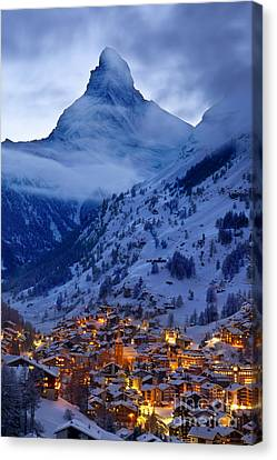 Snowy Night Night Canvas Print - Matterhorn At Twilight by Brian Jannsen