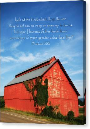Matthew 6 26 Scripture Red Barn Canvas Print by Denise Beverly