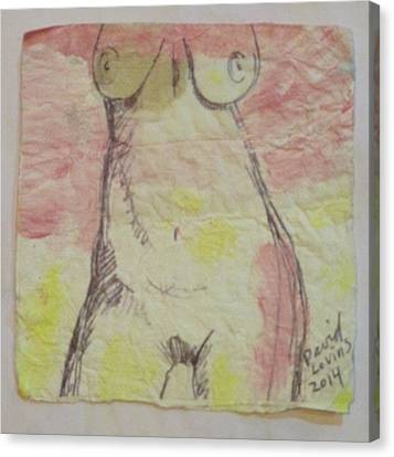 Mature Woman's Torso- Napkin Art Canvas Print by David Lovins