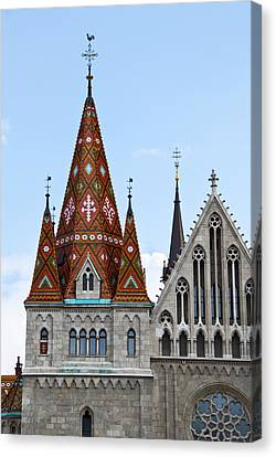 Matyas Church With Glazed Tiles In Budapest Hungary Canvas Print