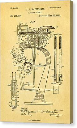Quilter Canvas Print - Matzeliger Lasting Machine Patent Art 1883 by Ian Monk