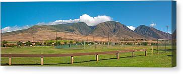 Canvas Print featuring the photograph Maui Hawaii Mountains Near Kaanapali   by Lars Lentz