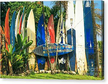 Maui Surfboard Fence - Peahi Hawaii Canvas Print by Sharon Mau