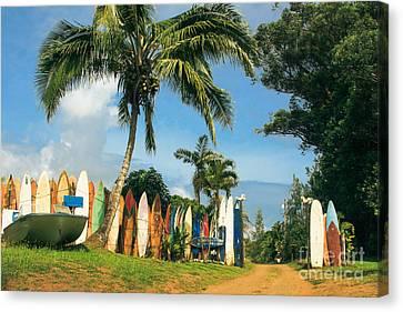 Maui Surfboard Fence - Peahi Canvas Print by Sharon Mau
