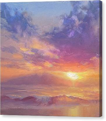Maui To Molokai Hawaiian Sunset Beach And Ocean Impressionistic Landscape Canvas Print by Karen Whitworth