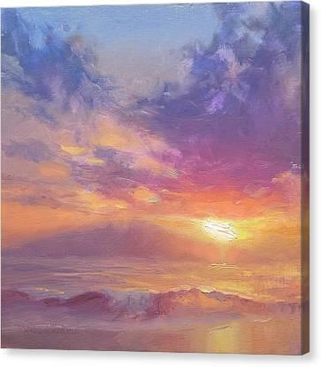 Maui To Molokai Hawaiian Sunset Beach And Ocean Impressionistic Landscape Canvas Print
