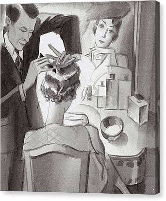 Maurice And Emile Styling Lady Mendl's Hair Canvas Print by  Libiszewski