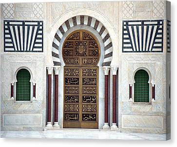 Canvas Print featuring the photograph Mausoleum Doors by Donna Corless