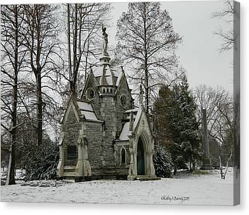 Canvas Print featuring the photograph Mausoleum In Winter by Kathy Barney