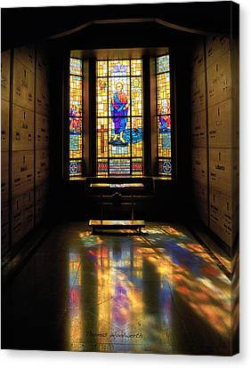 Mausoleum Stained Glass 06 Canvas Print by Thomas Woolworth