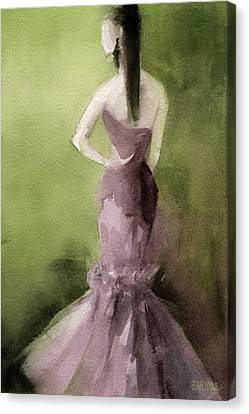 Mauve Evening Gown Fashion Illustration Art Print Canvas Print by Beverly Brown
