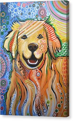 Max ... Abstract Dog Art...golden Retriever Canvas Print by Amy Giacomelli