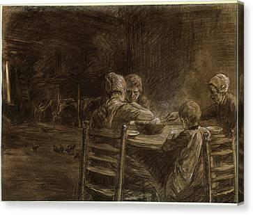 Black Top Canvas Print - Max Liebermann German, 1847 - 1935, East Frisian Peasants by Quint Lox