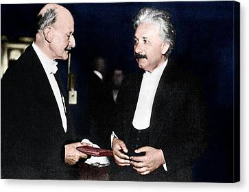 Max Planck And Albert Einstein Canvas Print by Science Photo Library
