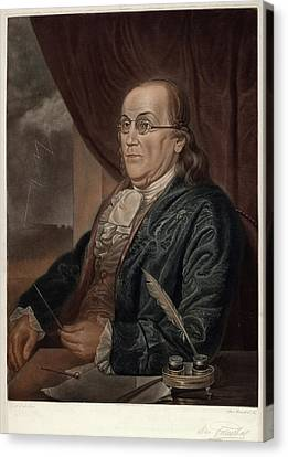 Benjamin Franklin Canvas Print - Max Rosenthal After Charles Willson Peale by Quint Lox
