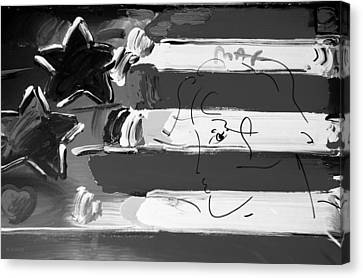 Max Stars And Stripes In Black And White Canvas Print by Rob Hans