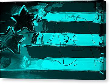 Max Stars And Stripes In Turquois Canvas Print by Rob Hans