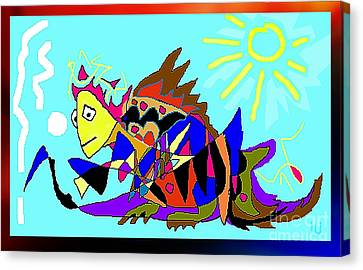 Canvas Print featuring the digital art Max The Magic Dragon by Hartmut Jager