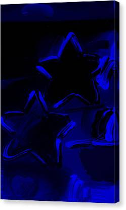 Max Two Stars In Blue Canvas Print by Rob Hans