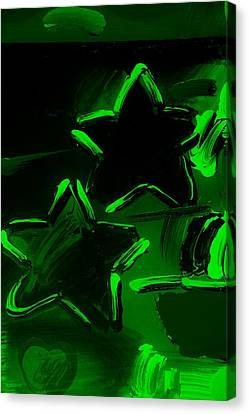 Max Two Stars In Green Canvas Print by Rob Hans