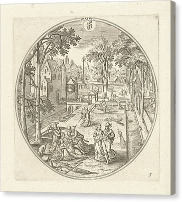 May, Adriaen Collaert, Hans Bol Canvas Print by Adriaen Collaert And Hans Bol And Claes Jansz. Visscher (ii)