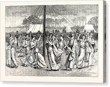 May-day Festivities Plaiting The May-pole At St Canvas Print by English School