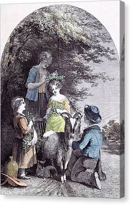 May G.w. Willis Children Goat Pastoral Spring Canvas Print by English School