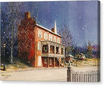 May House In Winter Canvas Print