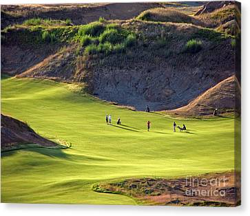 Canvas Print featuring the photograph May I Play Through? - Chambers Bay Golf Course by Chris Anderson