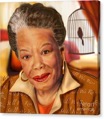Maya Angelou Rise Of The Song Bird Canvas Print by Reggie Duffie