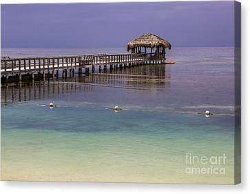 Maya Key Pier At Roatan Canvas Print by Suzanne Luft