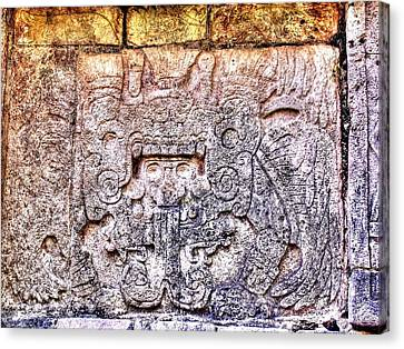 Mayan Hieroglyphic Carving Canvas Print by Paul Williams