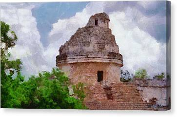 Mayan Observatory Canvas Print by Jeff Kolker