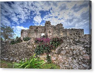 Canvas Print featuring the photograph Mayan Ruin At Tulum by Jaki Miller