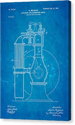 Combustion Canvas Print - Maybach Internal Combustion Engine Patent Art 1901 Blueprint by Ian Monk