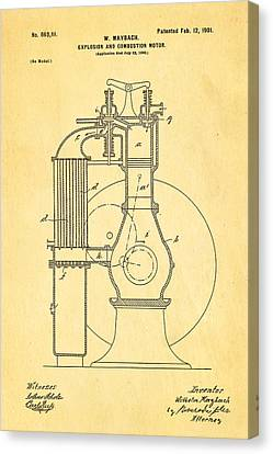 Combustion Canvas Print - Maybach Internal Combustion Engine Patent Art 1901 by Ian Monk