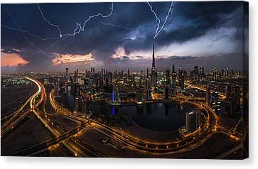 Traffic Lights Canvas Print - Maybe Lightning Strike Twice by Khalid Jamal