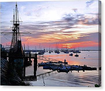 Canvas Print featuring the photograph Mayflower II At Sunrise by Janice Drew