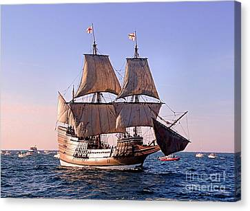 Mayflower II On Her 50th Anniversary Sail Canvas Print by Janice Drew