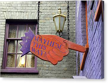 Mayhem This Way Canvas Print by Laurie Perry
