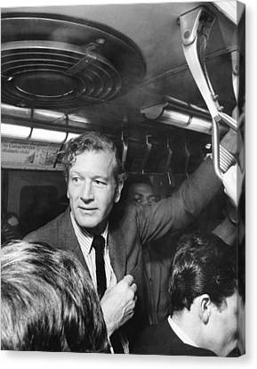 Mayor Lindsay Rides The Subway Canvas Print by Underwood Archives