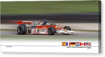 Canvas Print featuring the digital art Mc Laren M23 Hunt by Ed Dooley