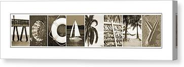 mccarthy in beach letters canvas print by kathy stanczak