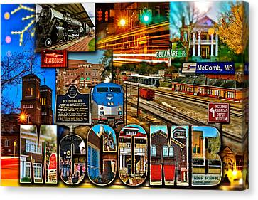 Mccomb Mississippi Postcard 2 Canvas Print by Jim Albritton