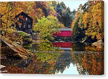Mcconnell's Mill And Covered Bridge Canvas Print by Marcia Colelli