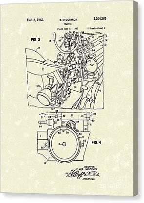 Mccormick Tractor 1942 Patent Art Canvas Print
