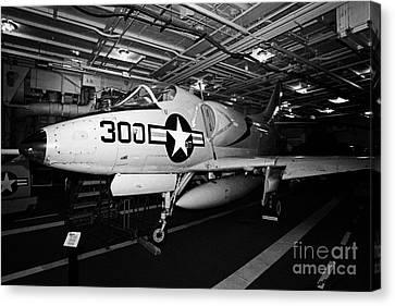 Mcdonnell Douglas A4 A4b Skyhawk On The Hangar Deck Of The Intrepid Sea Air Space Museum Canvas Print by Joe Fox