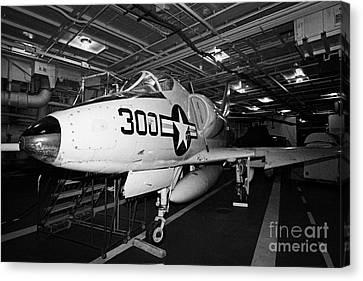 Mcdonnell Douglas A4b A4 Skyhawk On The Hangar Deck Of The Intrepid Sea Air Space Museum Canvas Print by Joe Fox