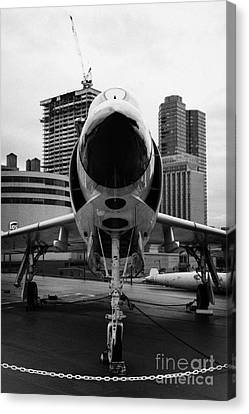 Mcdonnell F3h 2n F3b F3 Demon On The Flight Deck On Display At The Intrepid Sea Air Space Museum Canvas Print by Joe Fox