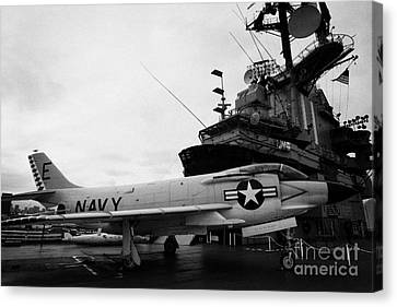 Mcdonnell F3h2n F3b F3 Demon On The Flight Deck On Display At The Intrepid Sea Air Space Museum Canvas Print by Joe Fox
